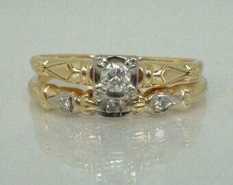 Antique Diamond Wedding Ring Set - Transitional Cut Diamond