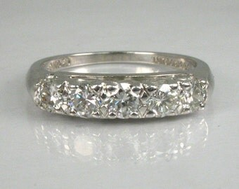 Vintage Platinum Diamond Wedding Ring - 0.63 Carats Diamond Total Weight - Appraisal Included 2380.00 USD