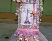 French Chic Art Tag Handmade OOAK Large Tag