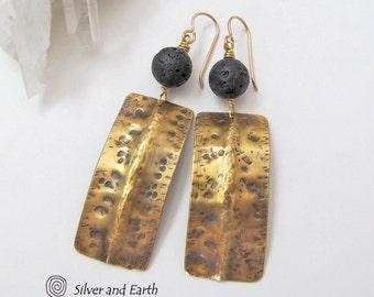 Gold Bar Earrings, Black & Gold Dangle Earrings, Modern Jewelry, Hammered Brass Earrings, Handmade Artisan Metal Jewelry, Everyday Earrings