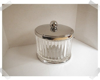 Clear Pressed Glass Oval Shape Container w/ Metal Lid/ Home Decor**