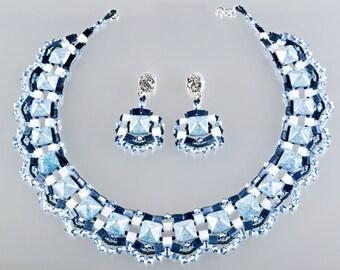 RESERVED - Beadwork Frozen Lake Set, Blue White Necklace and Earrings, Swarovski Holiday Set
