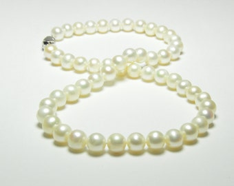 White Pearl Necklace-  Pearl Neckalce - 7-8mm White Pearl Necklace - AA 17 inches 7-8mm White Freshwater Pearl Necklace - Sterling Silver