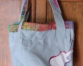 Tye Dyed Canvas Tote With Guitar Applique Gray