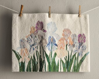 Vintage Woven Wool Tapestry Weaving Irises Made in India Wall Hanging