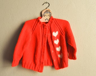Vintage Hand Knit Red  Kids Cardigan Sweater With Hearts Holiday Ugly Swearter Valentine
