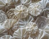 Handmade Fabric Rosette Yo Yo Lace Cream Mix Scrapbooking Embellishment Wedding
