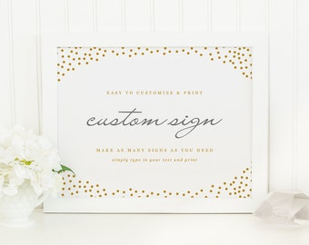 DIY Custom Wedding Sign | Instant DOWNLOAD | Gold Dots | Printable Wedding Sign | for Word or Pages Mac & PC | 11x8.5 | Wedding Decor