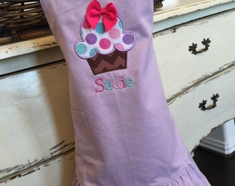 Children's Apron + Personalized  Apron + Lavender + Cupcake + Ruffle Apron