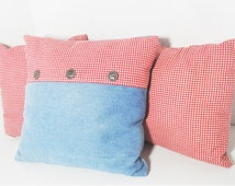 """Rustic Country pillow set, blue denim pillow, red & white gingham, Americana Western decor, Cowboy cowgirl decor, 12"""" 14"""" faded denim"""