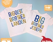 Biggest Brother and Big Brother Shirt set of 2, Sibling Shirt, Personalized Tshirt with Blue and Golden Green - Price is for Both 12302013f