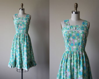 1960s Dress - 60s Vintage Dress - Aqua Polka Dot Print Pintucked Eyelet Full Skirt Sundress S - Bubble Pop Dress