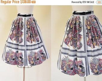 ON SALE 50s Skirt - Vintage 1950s Skirt - Novelty Print Native American Weaving Cotton Full Skirt S - Dream Weaver Skirt