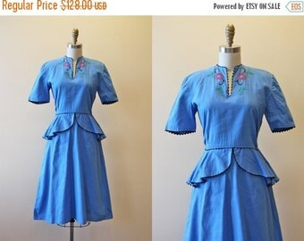ON SALE 1940s Dress - Vintage 40s Dress - Blue Embroidered Cotton Peplum Garden Party Dress S M - Lullabye