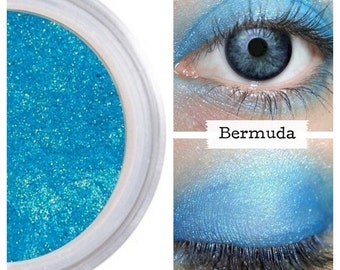 Cerulean Blue Shadow, Neon Bright Dayglow, Eye Color Colour, Natural Makeup, Pure Cosmetics, Bright Bold Shimmer, Eyeliner Liner, BERMUDA
