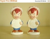 Speedy Alka Seltzer salt & pepper shakers, vintage mid-century 1960s iconic advertising character, Miles and Bayer nostalgic collectible