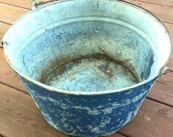 True Vintage Small Chippy Blue Galvanized Metal Tub w Bail Handle Christmas Tree Farmhouse Primitive