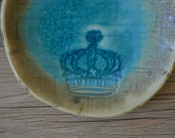 "Ring dish Crown English in Caribbean Blue glaze - 5"" star lovely calming romantic coastal turquoise soap dish"