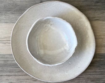 Dinner Plate and Soup bowl in off white , Ceramic plates,  Wedding gifts, Set of 2, white Handmade Tableware dinner plates Dinnerware set