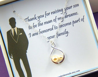 Mother Of The Groom Necklace Gift - Gift Boxed Jewelry -  Thank You Gift - Wedding gift for Mother in Law- 2 Peas in a Pod Necklace