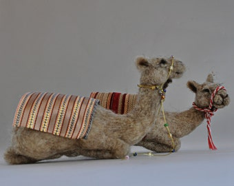 Needle felted Nativity. Sitting Camel Waldorf.  Doll wool soft sculpture. Needle felt by Daria Lvovsky