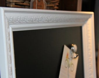 Large, Ornate, White, Vintage, Wood-Framed, Magnetic, Chalkboard (19 1/2 x 23 1/2 inches) Wedding/Home/Restaurant