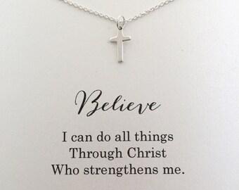 Tiny Cross Necklace, Small Silver Cross Necklace, Sterling Silver Cross Necklace, I Can Do All Things Through Christ, Philippians 4 13, SC1