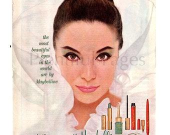 1962 Maybelline Vintage Ad, 1960's Beauty, 1960's Make Up, Retro Beauty, Retro Eye Cosmetics, Advertising Art, 1960's Fashion.
