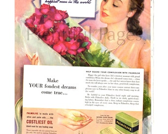 1941 Palmolive Soap Vintage Ad, 1940's Beauty, Retro Beauty Ad, Vintage Color Illustration, 1940's Housewife, Roses, Retro Ad, Beauty Bar.