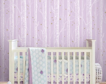 White Birch Tree On Pale purple pink Background with gold Stars Peel & Stick Wallpaper magical theme - wall decal - wall sticker