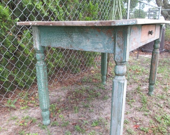Country Farm Table Painted Green Blue Table Farmhouse Farm House Rustic Prairie Cottage Primitive Barn Painted Desk Distressed Alligatorred