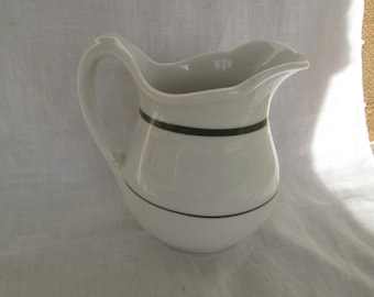 "White Restaurantware Restaurant ware Hotel Diner China 4 1/2"" Milk Pitcher w/ Green Stripes Creamer Vintage Kitchenware"