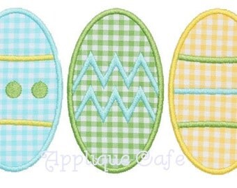 296 Easter Egg Trio Machine Embroidery Applique Design