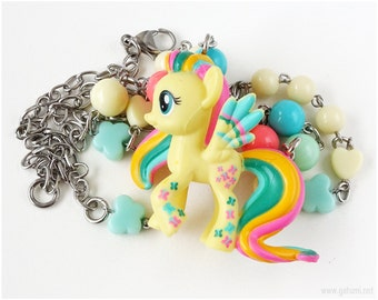 Rainbowfied Fluttershy Necklace, My Little Pony, Fairy Kei Necklace, Kawaii Necklace, Little Girl Necklace, Childrens Jewelry