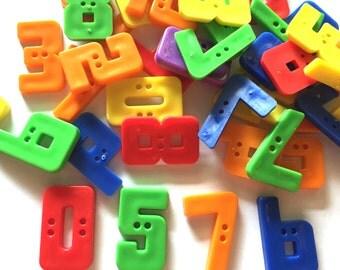 30 Pcs  0 1 2 3 4 5 6 7 8 9 Number Buttons Size 25 Mm Mix Colors