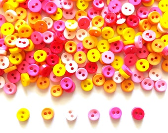 100 pcs  Tiny Button micro button 2 holes size 6mm mix pink yellow beige