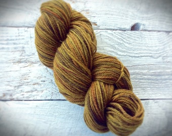 Worsted Weight wool - hand dyed wool knitting yarn - super wash - 220 yards - brown - for felting