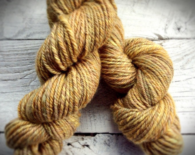Handspun wool yarn - yellow gold knitting crocheting yarn