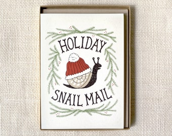Sale 50% Off - Funny Holiday Card Set of 6 - Holiday Snail Mail