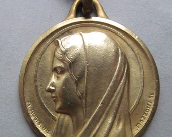 Virgin Mary Antique Religious Medal Signed Augis And Mazzoni Catholic Vintage Religious Medal Pendant Necklace  SS425