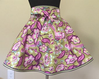 Stunning Double Edged Circular Half Apron with Playful Squirrels and Flowers