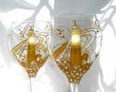 Lighthouse Goblet Hand Painted Gold Glassware Wine Glasses