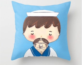 Tattooed Sailor Throw Pillow Cover - Dorm Decor Pillow - Trendy Baby Decor