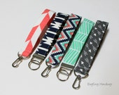 Key Chain / Key Fob - Swivel Clasp Key Wristlet - Choose Your Fabric - Aztec -  Arrows