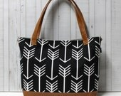 READY TO SHIP - Black Arrows with Faux Leather -Tote Bag /  Diaper Tote /  Medium Bag