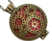 YOur perSOnal STYlish Essential oil necklace diffuser Steampunk pocket watch gears bronze d1 0