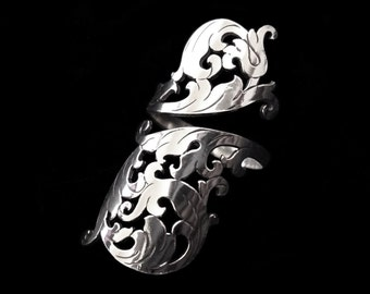 Sterling Silver Adjustable Long Wrap Ring - Ornate Rococo Scrolls Flourish - BAROQUE SOIREE