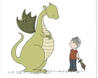 Dragon Nursery Art -- Boy Meets Dragon -- Dragon Art Print, Boy Knight Art, Boys Room Decor -- Children's Art Print, Kids Wall Art
