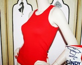 Vintage 80's Red Fitted Tank Top by Cindy. Mint Condition. Killer Fit. Small.