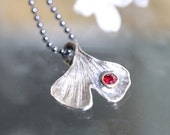 60% OFF - Ginkgo Leave Ruby Pendant, Recycled Sterling Silver Necklace, Gemstone, Birthstone, Statement Necklace - Ship In The Next 9 Days